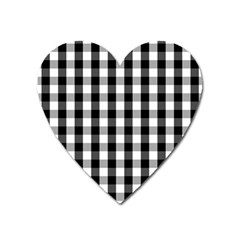 Large Black White Gingham Checked Square Pattern Heart Magnet