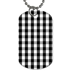 Large Black White Gingham Checked Square Pattern Dog Tag (One Side)