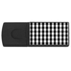 Large Black White Gingham Checked Square Pattern USB Flash Drive Rectangular (1 GB)
