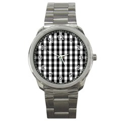 Large Black White Gingham Checked Square Pattern Sport Metal Watch