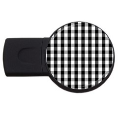 Large Black White Gingham Checked Square Pattern USB Flash Drive Round (4 GB)