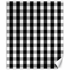 Large Black White Gingham Checked Square Pattern Canvas 8  x 10