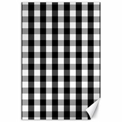 Large Black White Gingham Checked Square Pattern Canvas 24  x 36