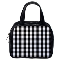 Large Black White Gingham Checked Square Pattern Classic Handbags (One Side)