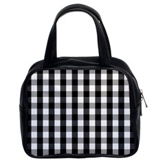 Large Black White Gingham Checked Square Pattern Classic Handbags (2 Sides)
