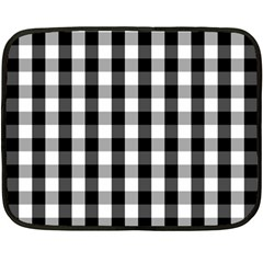 Large Black White Gingham Checked Square Pattern Double Sided Fleece Blanket (Mini)
