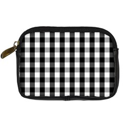 Large Black White Gingham Checked Square Pattern Digital Camera Cases