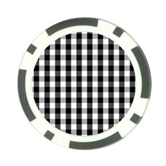 Large Black White Gingham Checked Square Pattern Poker Chip Card Guard (10 pack)