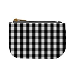 Large Black White Gingham Checked Square Pattern Mini Coin Purses