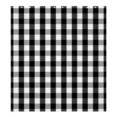 Large Black White Gingham Checked Square Pattern Shower Curtain 66  x 72  (Large)