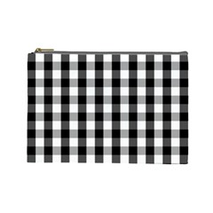 Large Black White Gingham Checked Square Pattern Cosmetic Bag (Large)