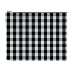 Large Black White Gingham Checked Square Pattern Cosmetic Bag (XL)