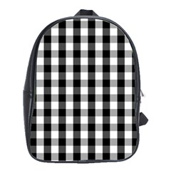 Large Black White Gingham Checked Square Pattern School Bags(Large)