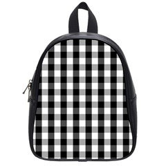 Large Black White Gingham Checked Square Pattern School Bags (Small)