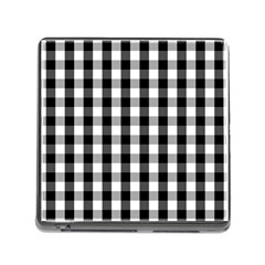 Large Black White Gingham Checked Square Pattern Memory Card Reader (Square)