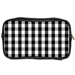 Large Black White Gingham Checked Square Pattern Toiletries Bags 2-Side