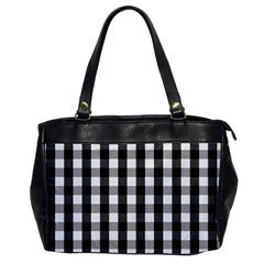 Large Black White Gingham Checked Square Pattern Office Handbags