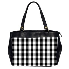 Large Black White Gingham Checked Square Pattern Office Handbags (2 Sides)