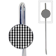 Large Black White Gingham Checked Square Pattern Book Mark