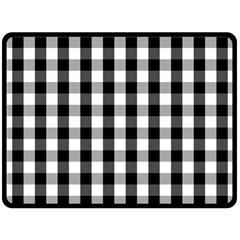 Large Black White Gingham Checked Square Pattern Fleece Blanket (Large)