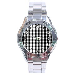 Large Black White Gingham Checked Square Pattern Stainless Steel Analogue Watch
