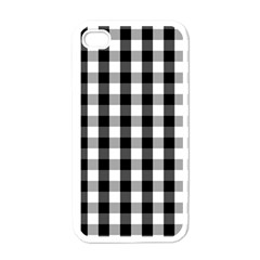 Large Black White Gingham Checked Square Pattern Apple iPhone 4 Case (White)