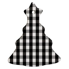 Large Black White Gingham Checked Square Pattern Ornament (Christmas Tree)