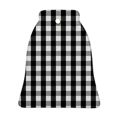 Large Black White Gingham Checked Square Pattern Ornament (Bell)