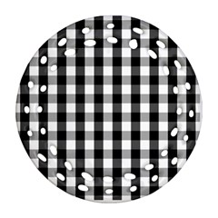 Large Black White Gingham Checked Square Pattern Round Filigree Ornament (Two Sides)