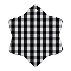 Large Black White Gingham Checked Square Pattern Snowflake Ornament (Two Sides)