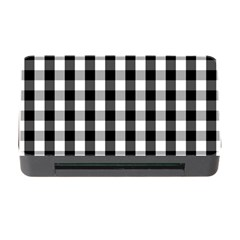 Large Black White Gingham Checked Square Pattern Memory Card Reader with CF