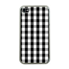 Large Black White Gingham Checked Square Pattern Apple iPhone 4 Case (Clear)