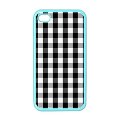 Large Black White Gingham Checked Square Pattern Apple iPhone 4 Case (Color)