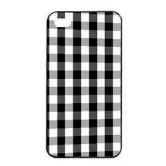 Large Black White Gingham Checked Square Pattern Apple iPhone 4/4s Seamless Case (Black)
