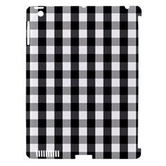 Large Black White Gingham Checked Square Pattern Apple iPad 3/4 Hardshell Case (Compatible with Smart Cover)