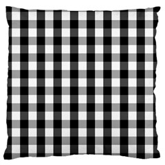 Large Black White Gingham Checked Square Pattern Large Cushion Case (two Sides)