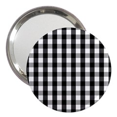 Large Black White Gingham Checked Square Pattern 3  Handbag Mirrors