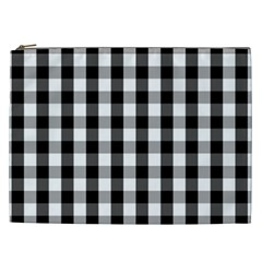 Large Black White Gingham Checked Square Pattern Cosmetic Bag (XXL)