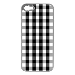 Large Black White Gingham Checked Square Pattern Apple iPhone 5 Case (Silver)