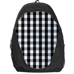 Large Black White Gingham Checked Square Pattern Backpack Bag
