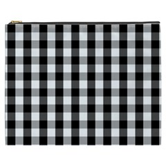 Large Black White Gingham Checked Square Pattern Cosmetic Bag (XXXL)