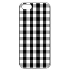 Large Black White Gingham Checked Square Pattern Apple Seamless iPhone 5 Case (Clear)