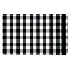 Large Black White Gingham Checked Square Pattern Apple iPad 3/4 Flip Case