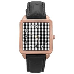 Large Black White Gingham Checked Square Pattern Rose Gold Leather Watch