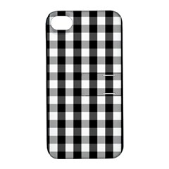 Large Black White Gingham Checked Square Pattern Apple iPhone 4/4S Hardshell Case with Stand
