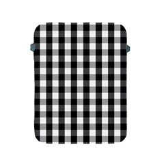 Large Black White Gingham Checked Square Pattern Apple iPad 2/3/4 Protective Soft Cases