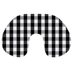Large Black White Gingham Checked Square Pattern Travel Neck Pillows