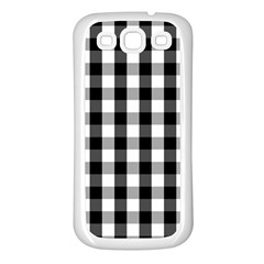Large Black White Gingham Checked Square Pattern Samsung Galaxy S3 Back Case (White)