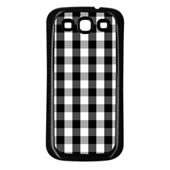 Large Black White Gingham Checked Square Pattern Samsung Galaxy S3 Back Case (Black)