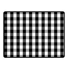 Large Black White Gingham Checked Square Pattern Double Sided Fleece Blanket (Small)